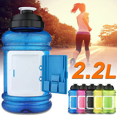 Water Bottle Jug BPA Free Plastic 2.2L Half Gallon Gym+Storage Case UK 73oz Big