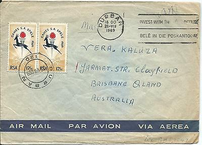 1969 Airmail envelope to Australia Pair Nice 12 1/2c Olympic Games stamps