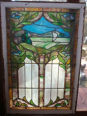 Antique stained glass scenic  landing window
