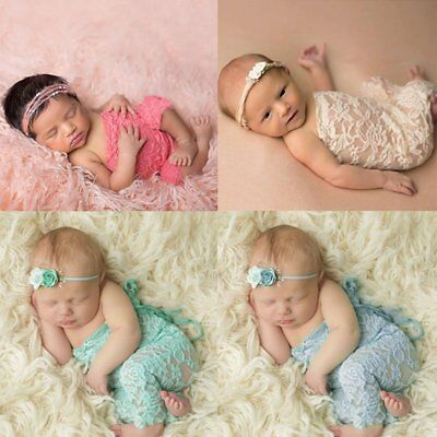 Newborn Infant Baby Girl Boy Photography Props Lace Bow Romper Bodysuit Clothes