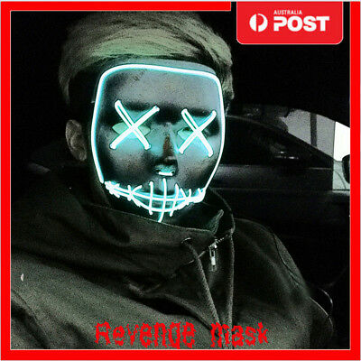 LED Light Up Skull Mask Human Skeleton Scary Fancy Dress Up Halloween Cospplay