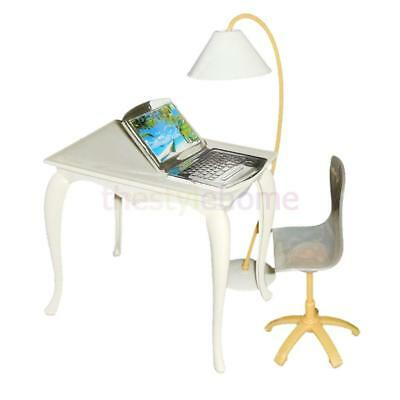 Office-Desk, Chair, Computer, Floor Lamp 4pcs/Set for Barbie Doll Furniture