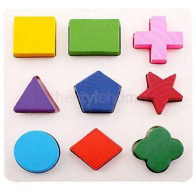 Kids Montessori Educational Wooden Learning Toy Geometry Block Puzzle #B