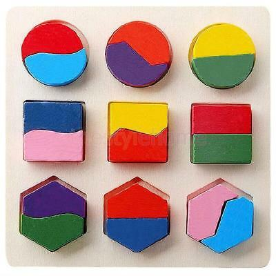 Kids Montessori Educational Wooden Learning Toy Geometry Block Puzzle #A