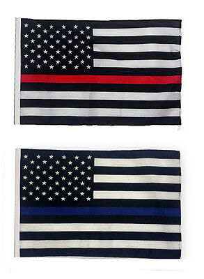 "12x18 12""x18"" USA Police Thin Blue & Fire Thin Red Line Sleeve Flag Boat Garden"