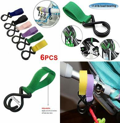 6 Pack of Multi Purpose Stroller Clips Hooks, Hanger for Baby Diaper Bags,...