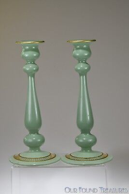 1920's No. 1045  Lattice Deco CANDLESTICKS by Westmoreland JADE GREEN ENAMELED