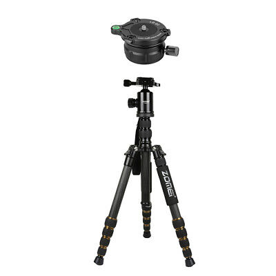 Carbon Fiber Tripod 5 Section Monopod with Ball Head +Leveling Base Platform