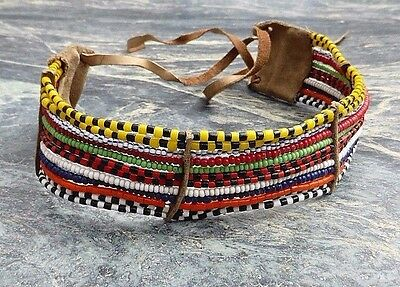 East African Tribal Art Masai Turkana Bead Work Collar Necklace No Club Mask Axe