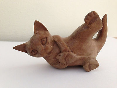 "Cat & Mouse Carved Teak Wood Small Figurine 3.75"" Long"