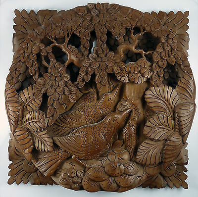VINTAGE ASIAN / CHINESE CARVED WOODEN WALL PLAQUE -  Birds & Trees