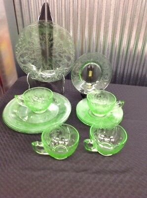 Indiana Horseshoe Vaseline Uranium Green Depression Glass Salad Plate Cup Saucer