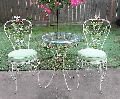 Fabulous! Vintage Italy Tole Ware Strawberries&Leaves Chairs&Table Patio Set