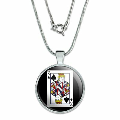 "Donald Trump King of Spades Card 1"" Pendant with Sterling Silver Plated Chain"