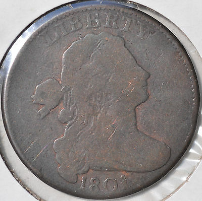 1801 1C Draped Bust Cent Early Copper Type Coin Circulated Very Good VG
