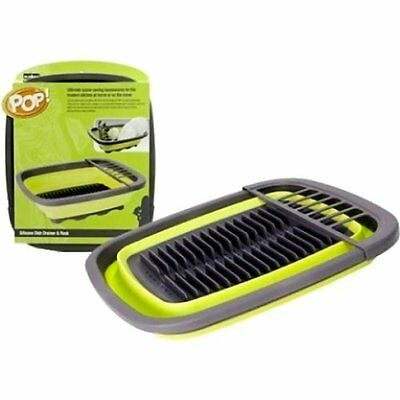 ST6007 SUMMIT POP DISH DRAINER AND RACK WITH UNDER DRIP TRAY lime green
