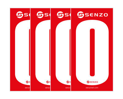 Number 0 White on Red Pack of 4 UK KART STORE