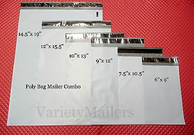 18 Poly Bag Plastic Postal Envelope Mailer Combo 3 each of 6 Sizes Self-Sealing