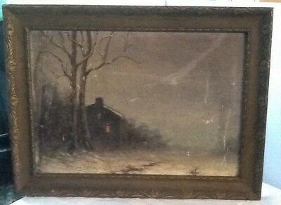 1800'S Vintage Landscape  With Cabin--Night Scene--Oil Painting