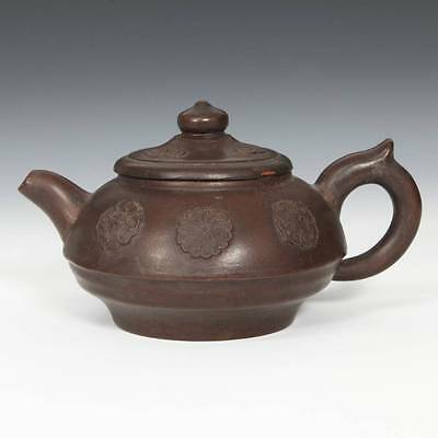 Chinese Yixing Purple Clay Pottery Cloud Medallion Motif Teapot Cha China 20Th C