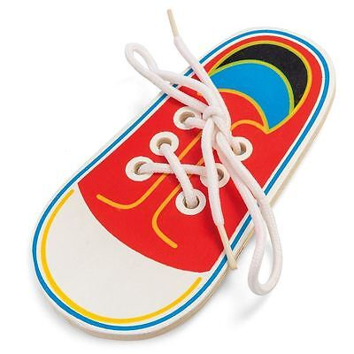 Wooden Lacing Shoe Learn to Tie Laces Educational Motor Skills kids