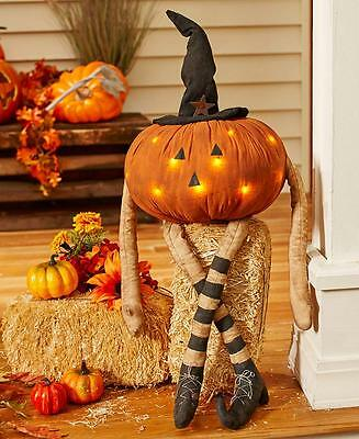 Led Lighted Country Style Pumpkin Man Halloween Fall Harvest Outdoor Decor