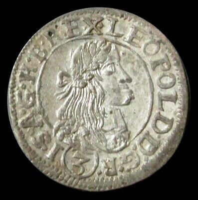 1672 Silver Hungary 3 Krajczar Leopold I About Unc Condition