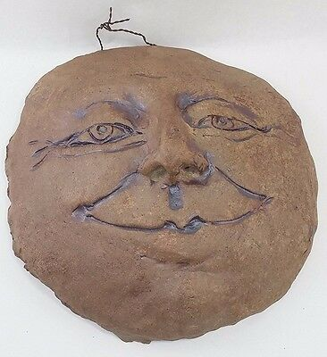"MAN IN THE MOON Awake XL Primitive 10"" WALL PLAQUE Rustic BROWN USA made_of_clay"