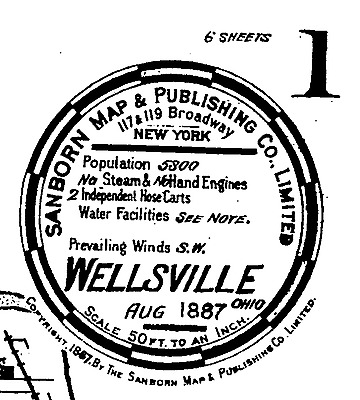 Wellsville, Ohio~Sanborn Map© sheets1887, 1892~15 maps on a CD