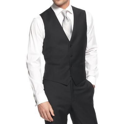 Calvin Klein 4445 Mens Wool Slim Fit Button Front Suit Vest BHFO