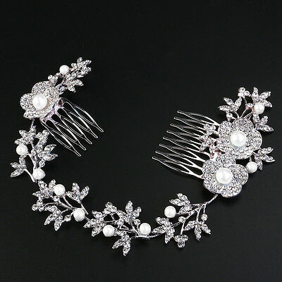 Shining Hair Comb Pearl Crystal Flower Leaf Clip Side Comb Pin Bridal Headpiece