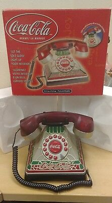 Coca Cola Lighted Stained Glass Rotary Push Button Telephone with Original Box
