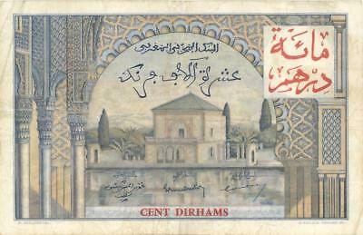 Morocco 100 Dirhams O/P Provisional Currency Banknote 1959