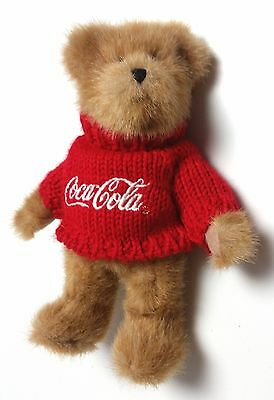 """Boyds Bears Johnny Coke Coca Cola Red Knit Sweater 8"""" Posable Button Foot"""
