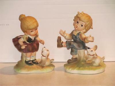 Vintage Vtg Ceramic Figurines Boy Girl Playing with Dogs Two 2 Lot Large EXCELL