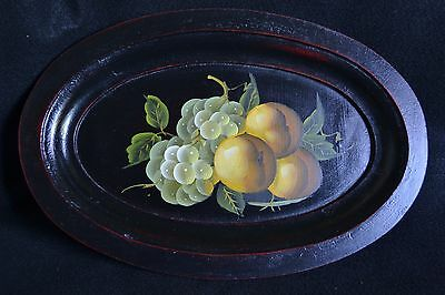 Vintage Oval Wood Tray/Platter with Hand-painted Toleware Style Fruit Paintings