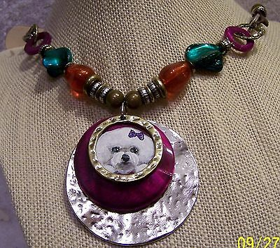 hand painted Bichon Frise on beaded  pendant necklace
