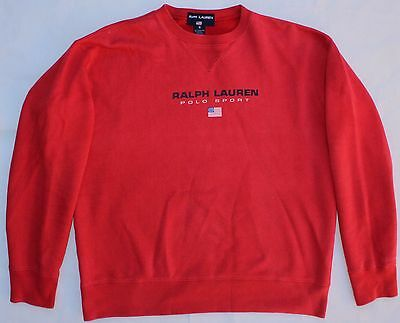 RALPH LAUREN POLO SPORT VINTAGE 90's JUMPER - SMALL - RED - MENS SWEATER