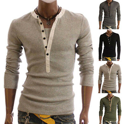 Men's V-neck Button Front Long Sleeve Casual Slim Fit T-Shirt Tops Fashion