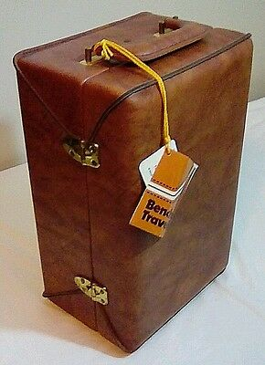 Vtg Airway Benchmark Travel Bar Coffee Set w Tags Percolator Faux Leather Brown