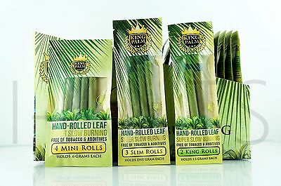 9 King Palm Rolls 100% Tobacco Free All Natural Leaf Rolls With Corn Husk Filter