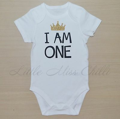 1st Birthday prince crown one boys tee cake smash party bodysuit outfit shirt