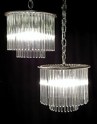 Pair GAETANO SCIOLARI for LIGHTOLIER Glass Rod PETITE CHANDELIERS