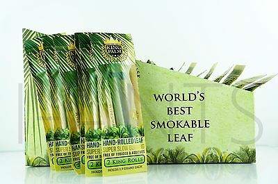 12x King Palm King Size 100% Tobacco Fee Natural Leaf Rols With Corn Husk Filter