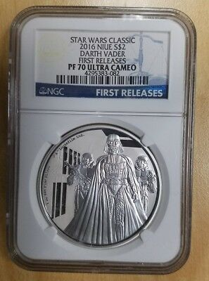 Star Wars 2016 NIUE Silver $2 Darth Vader First Releases NGC PF70 Ultra Cameo
