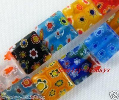 Millefiori Glass Mixed Square Spacers 6x6mm,10x10mm,14x14mm P20 P234 P235