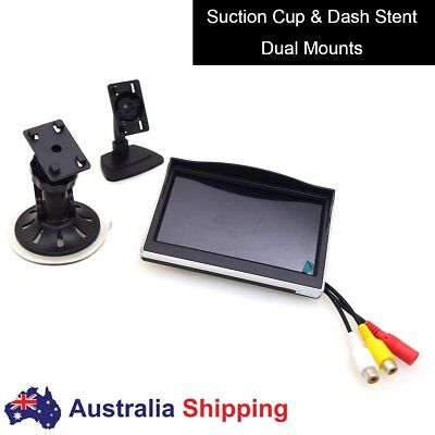 "5"" Car Monitor, 12-24V All Truck In-Car TFT LCD Screen Suction Cup & Dash Stand"
