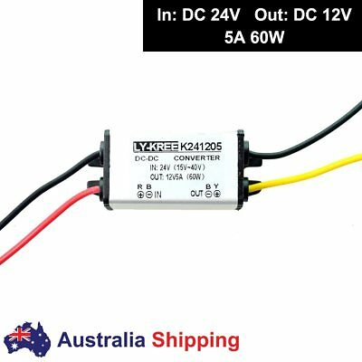 Truck DC 24v to Car DC 12v Step Down Converter 5A 60W High Power Supply Adapter