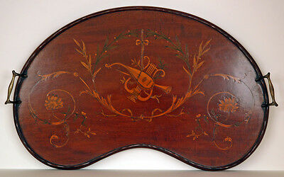 Exceptional Ca. 1880's English Edwardian Inlaid Mahogany Serving Tray