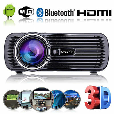 DE 4000 Lumens Android 4.4 WIFI Heimkino Beamer USB VGA HD LED Theater Projektor